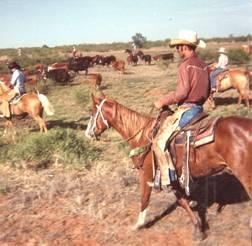 Tom, heading the Spring round up on the S&K 1981, Blanco Canyon, Texas